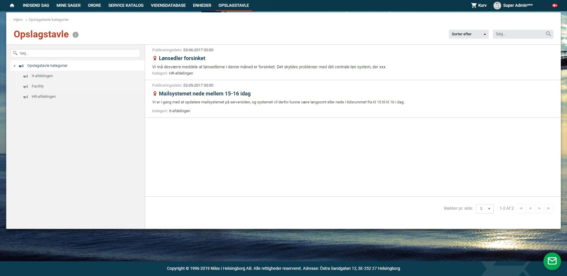 SSP opslagstavle screenshot